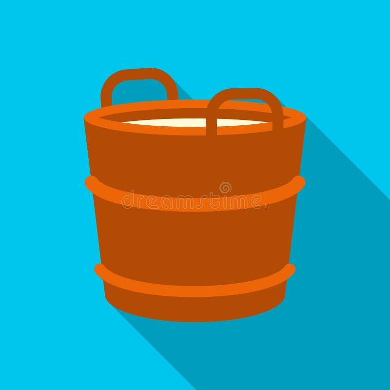 Vlakke het pictogram van de melkemmer Enige bio, eco, biologisch productpictogram van de grote vlakke melk royalty-vrije illustratie