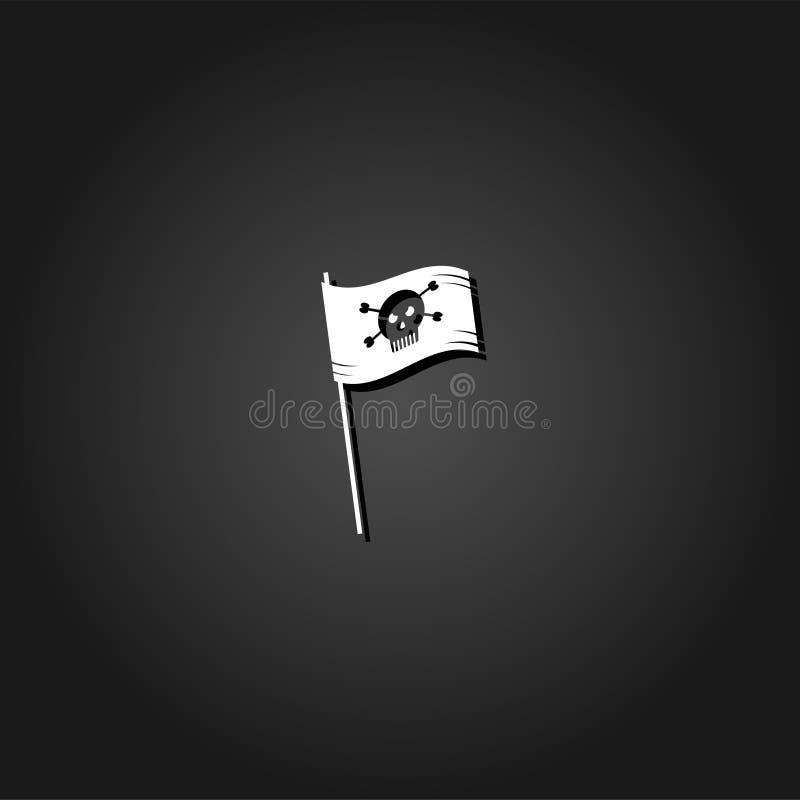 Vlakke het pictogram van de piraatvlag royalty-vrije illustratie
