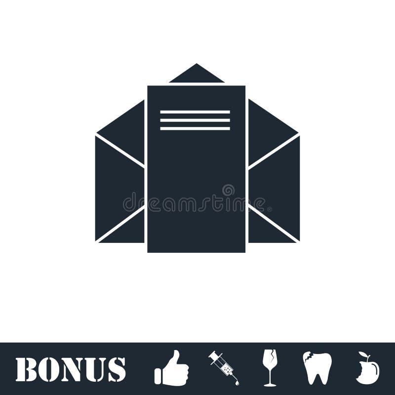 Vlakke het pictogram van de postbrief royalty-vrije illustratie