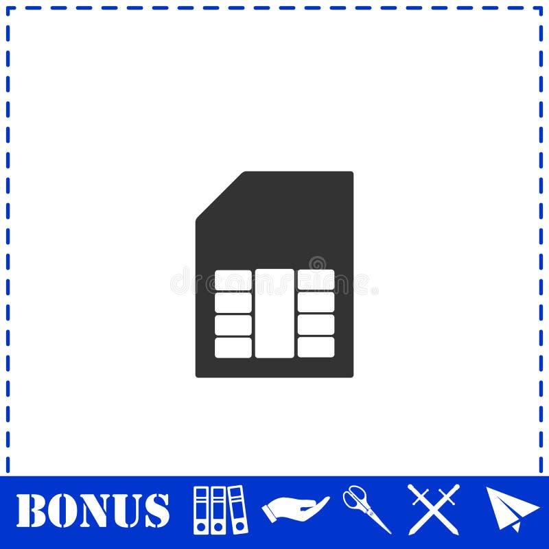 Vlakke het pictogram van de Simkaart stock illustratie