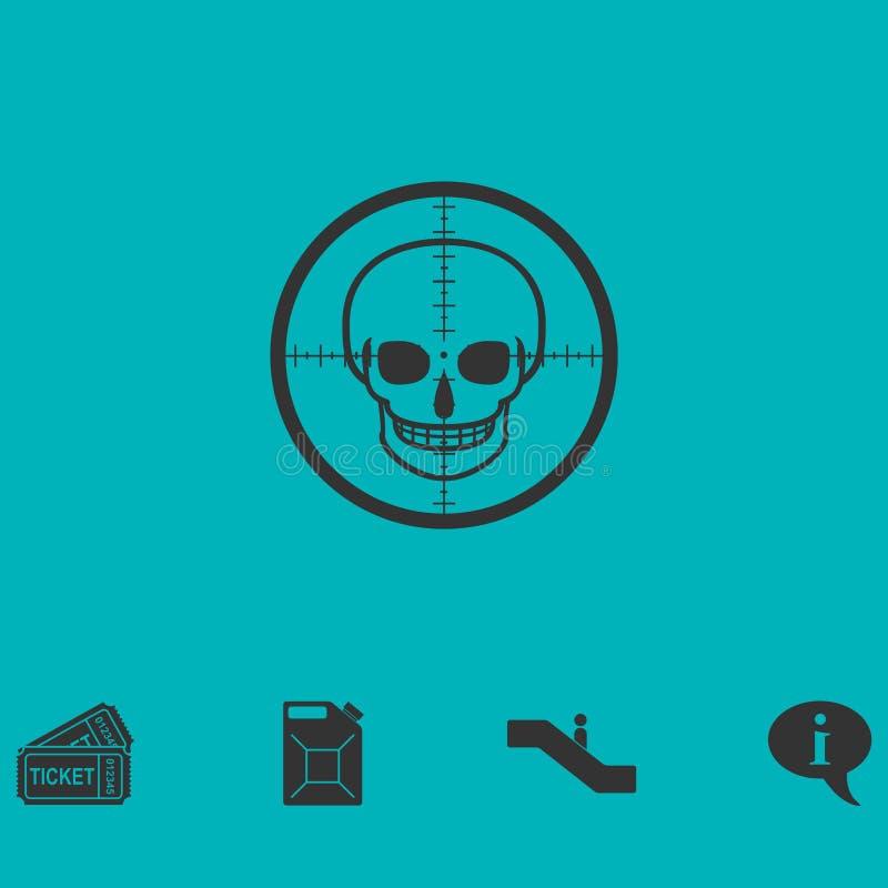 Vlakke het pictogram van de sluipschutterschedel vector illustratie