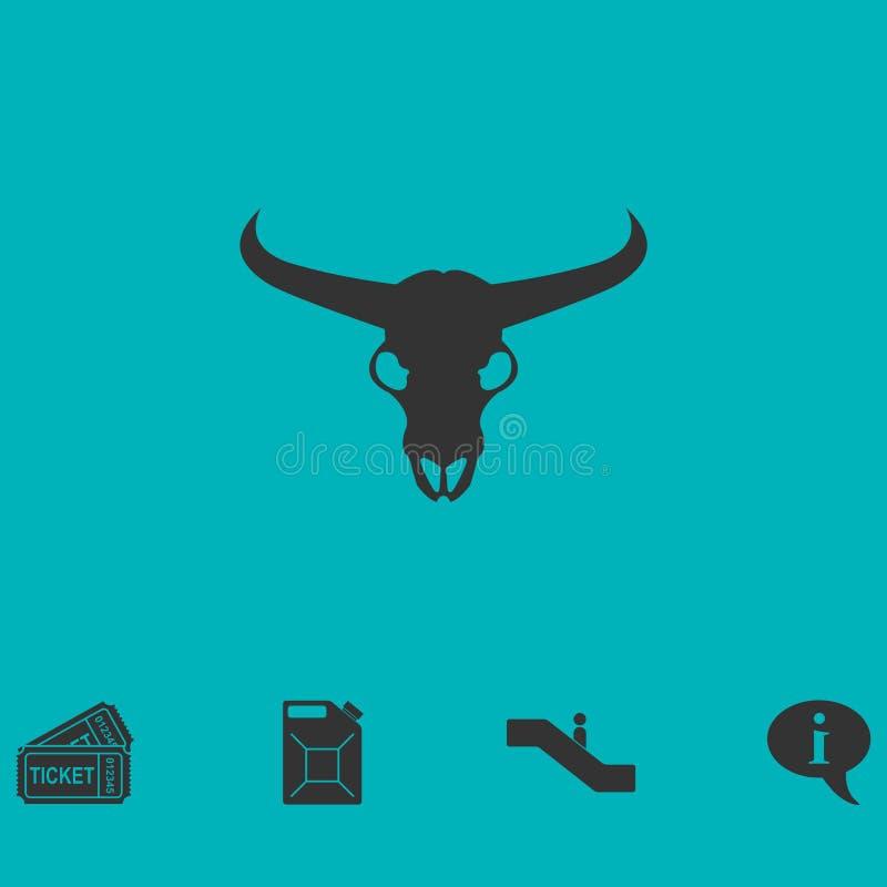 Vlakke het pictogram van de stierenschedel stock illustratie