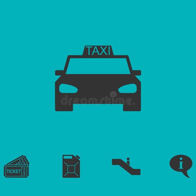 Vlakke het pictogram van de taxiauto vector illustratie