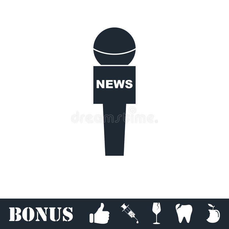 Vlakke het pictogram van de verslaggeversmicrofoon stock illustratie