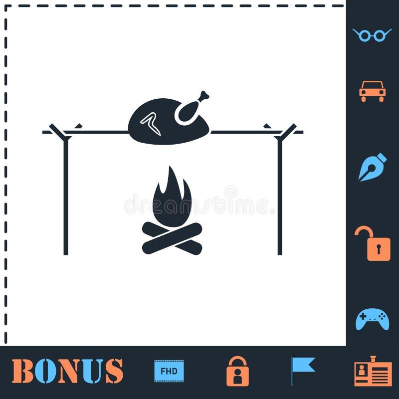 Vlakke het pictogram van de vleespenkip stock illustratie
