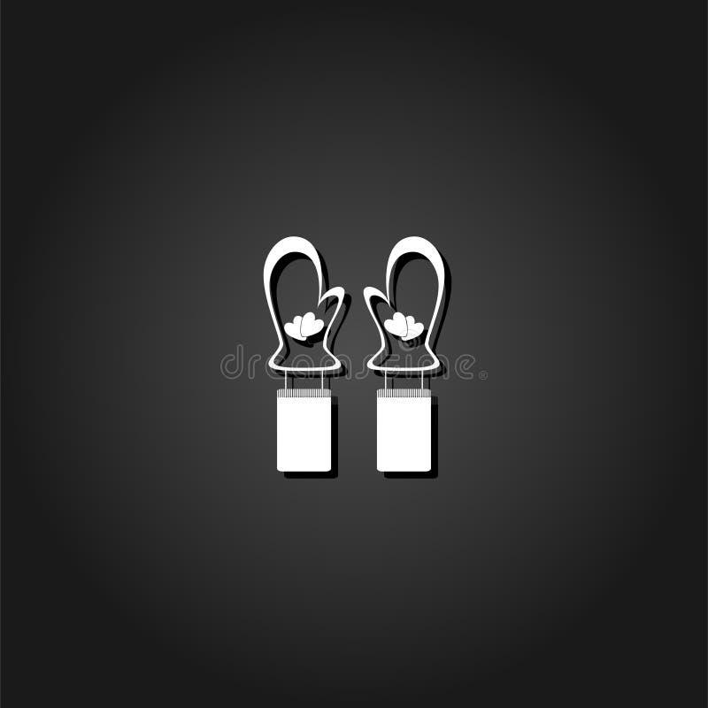 Vlakke het pictogram van de vuisthandschoenenwinter stock illustratie