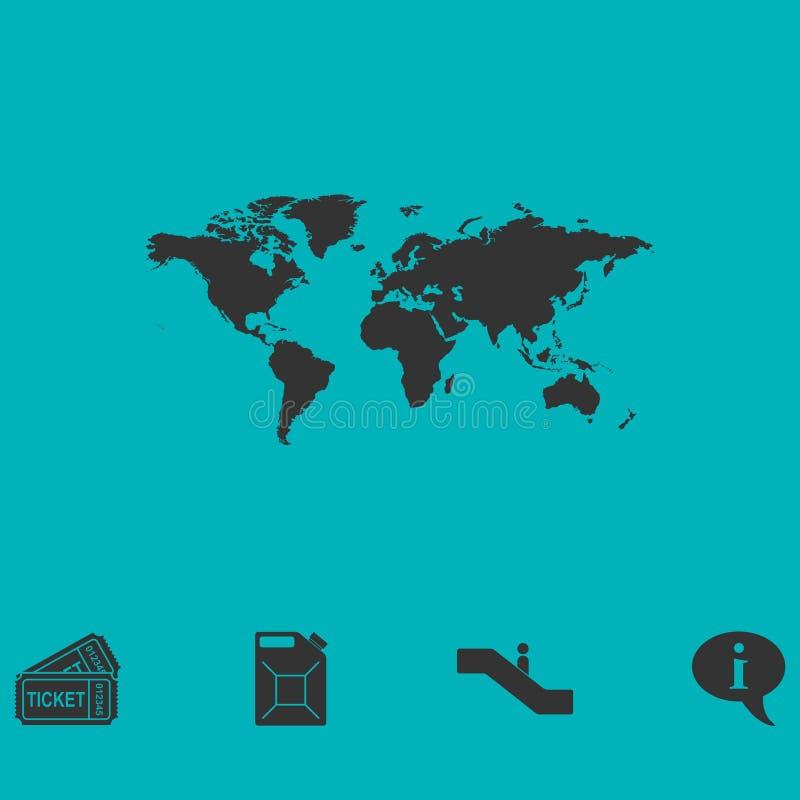Vlakke het pictogram van de wereldkaart vector illustratie