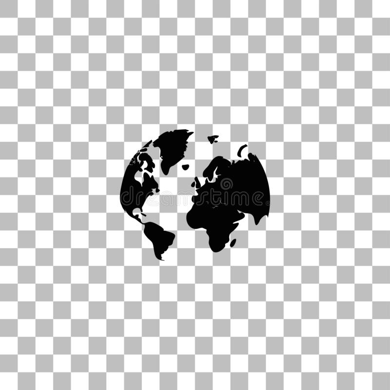 Vlakke het pictogram van de wereldkaart royalty-vrije illustratie