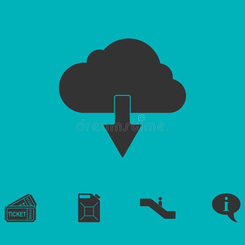 Vlakke het pictogram van de wolkendownload vector illustratie