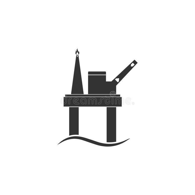 Vlakke het pictogram van het olieplatform royalty-vrije illustratie
