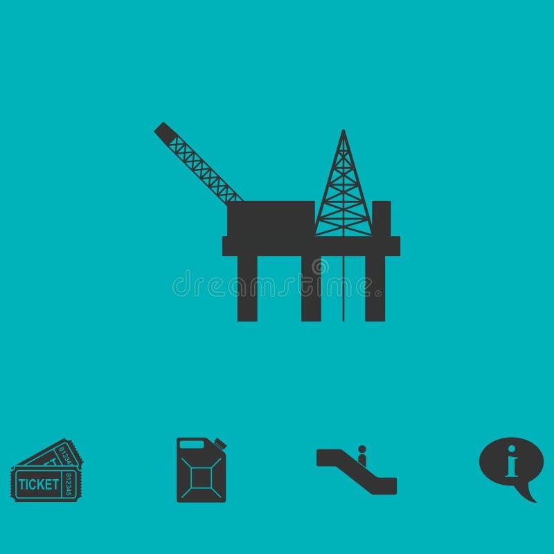Vlakke het pictogram van het olieplatform stock illustratie