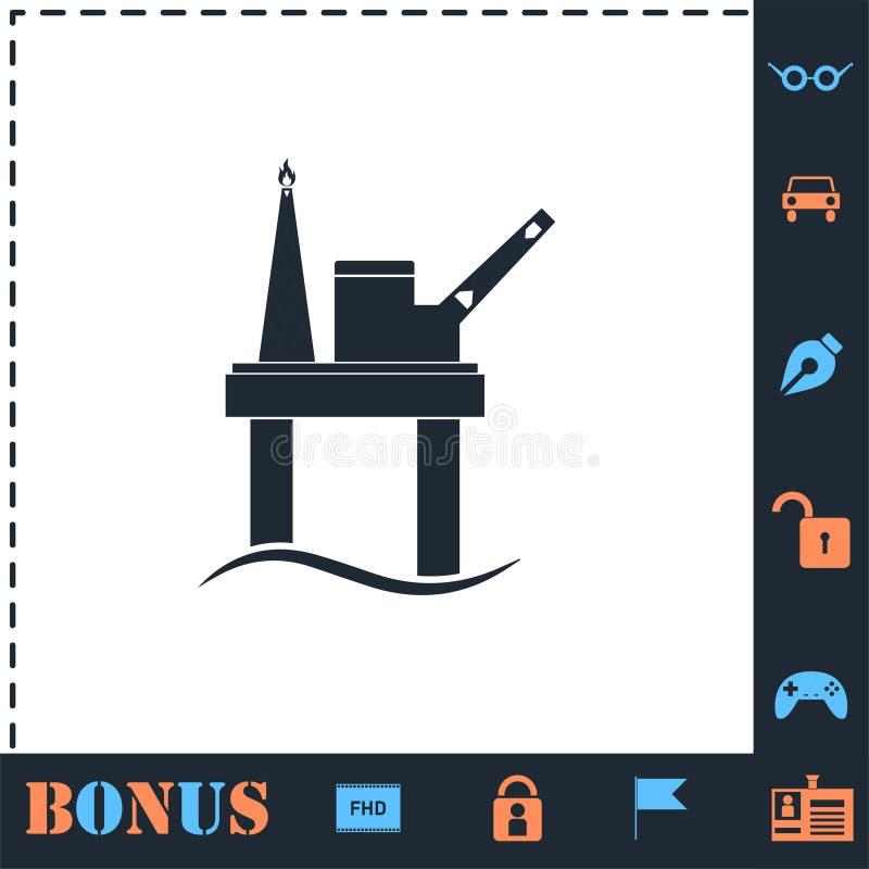 Vlakke het pictogram van het olieplatform vector illustratie