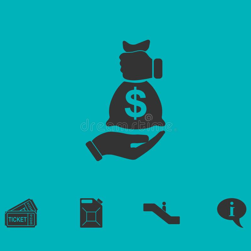 Vlakke het pictogram van het steekpenningspictogram royalty-vrije illustratie