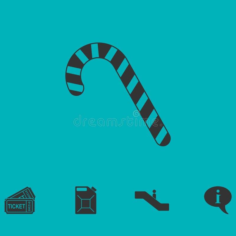 Vlakke het pictogram van het het suikergoedriet van de Kerstmispepermunt vector illustratie