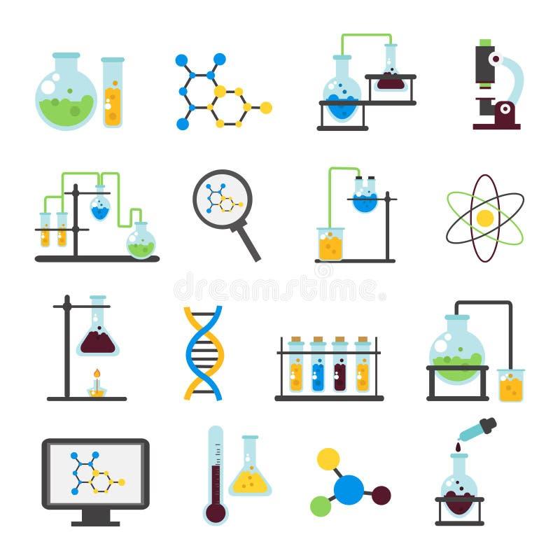 Vlakke het Pictogramreeks van het chemielaboratorium stock illustratie