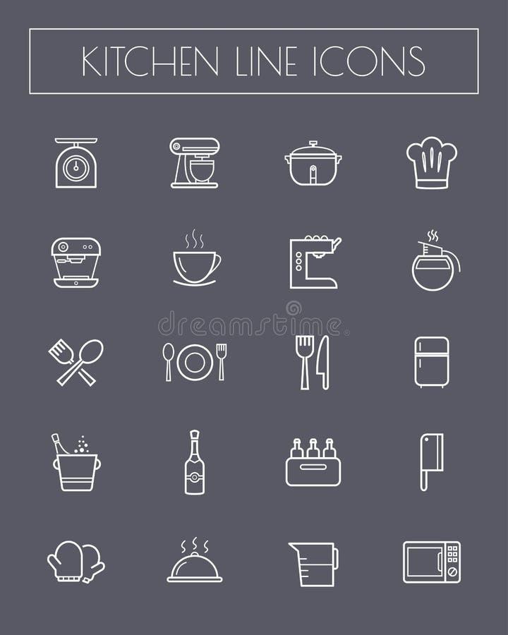 Vlakke het pictogramreeks van het lijnkeukengereedschap royalty-vrije illustratie