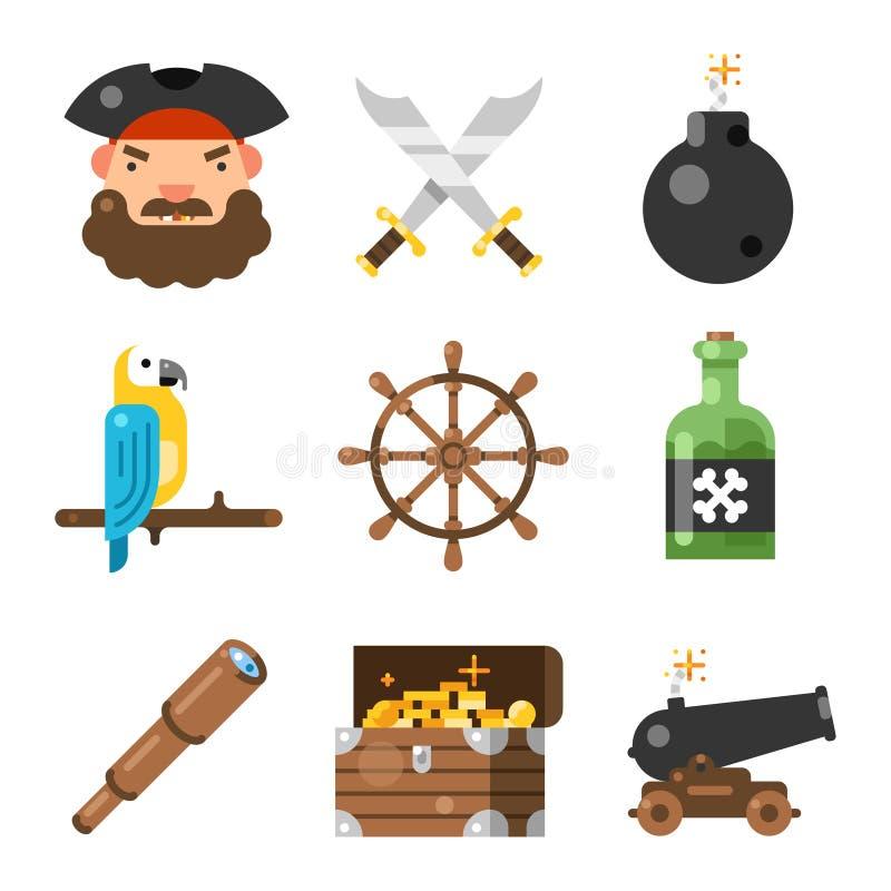 Vlakke het pictogramreeks van het piraatspel vector illustratie