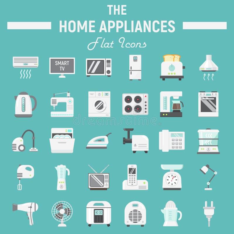 Vlakke het pictogramreeks van huistoestellen, technologiesymbolen royalty-vrije illustratie