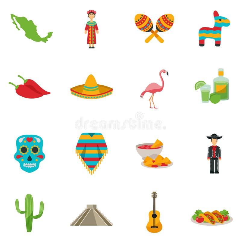 Vlakke het Pictogramreeks van Mexico royalty-vrije illustratie