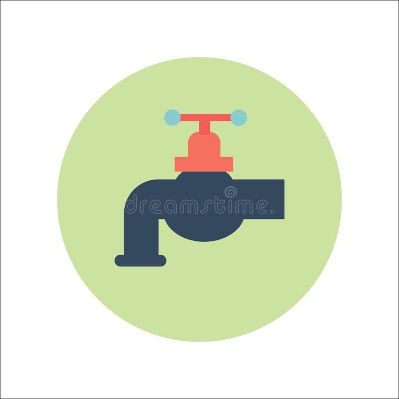 VLAKKE het PICTOGRAMvector van de WATERtapkraan stock illustratie