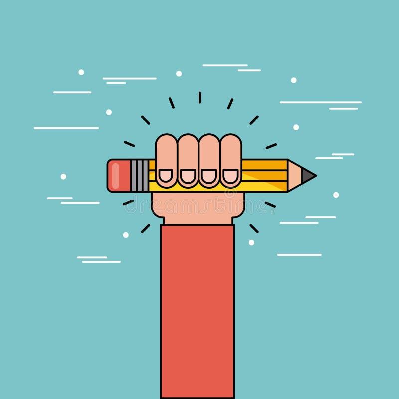 Vlakke het potlood van de handgreep stock illustratie