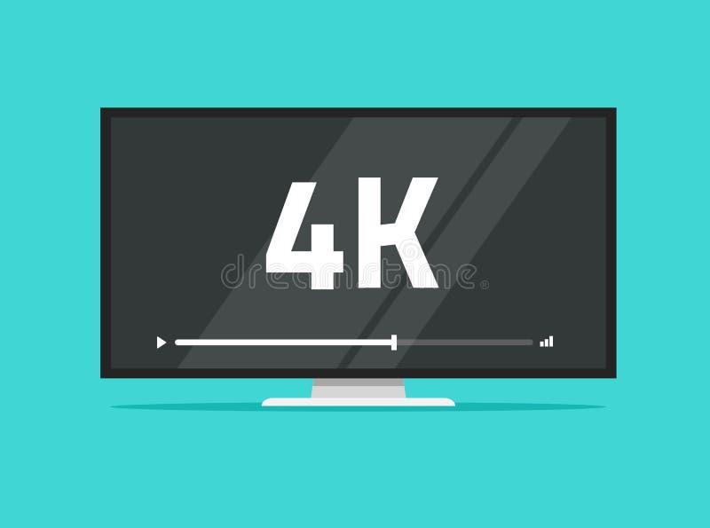 Vlakke het schermtv met 4k ultra video de technologie vectorillustratie van HD, leidde televisievertoning met hoge definitie vector illustratie