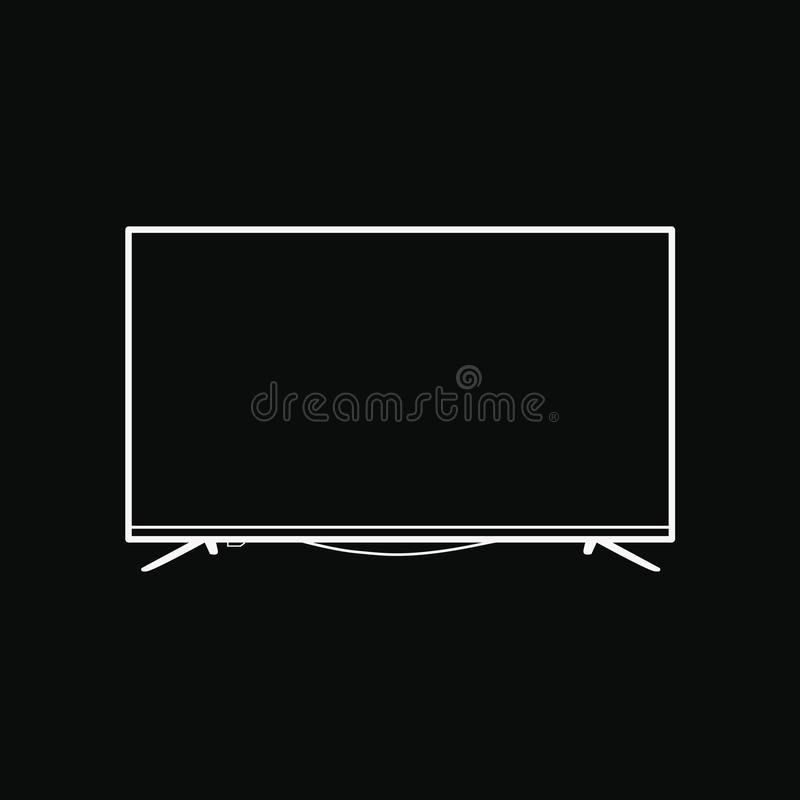 Vlakke het schermtv met 4k ultra video de technologie vectorillustratie van HD, leidde televisievertoning met hoge definitie digi royalty-vrije illustratie