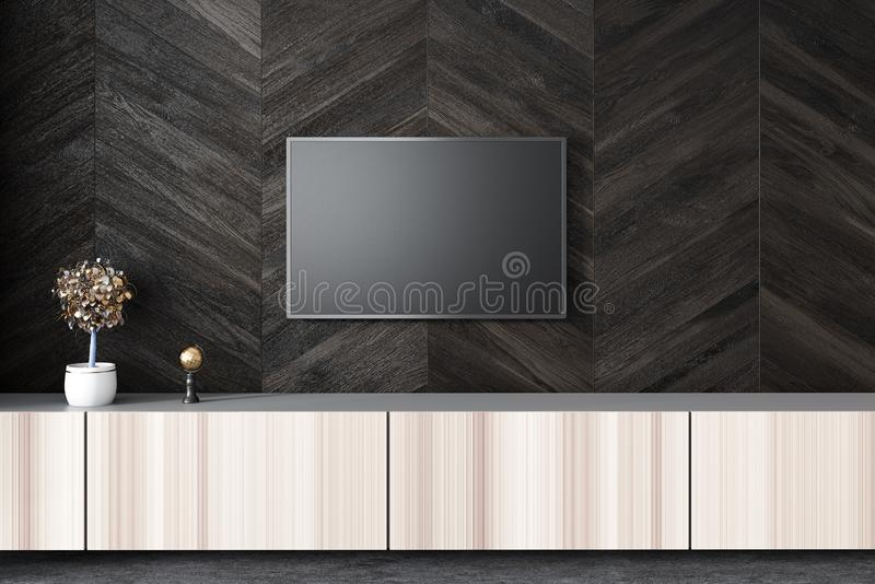 Vlakke het schermtv op zwarte woonkamermuur stock illustratie