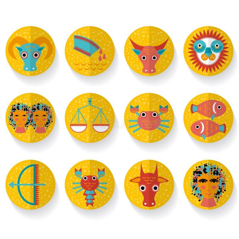 Vlakke het tekenreeks van de ontwerp moderne oranje dierenriem Geïsoleerdj op witte achtergrond stock illustratie