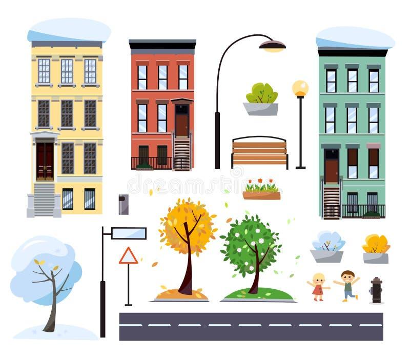 Vlakke het twee-verhaal van de beeldverhaalstijl vectorstadshuizen, straat met weg, bomen, bank, verkeersteken, lantaarns Vier se stock illustratie