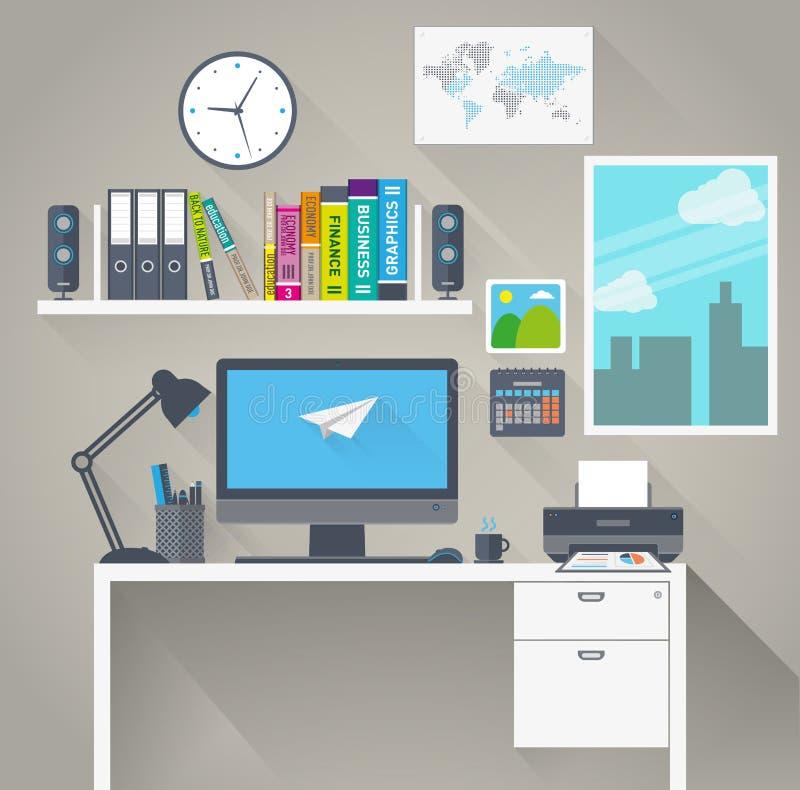 Vlakke het werkruimte met lange schaduw royalty-vrije illustratie