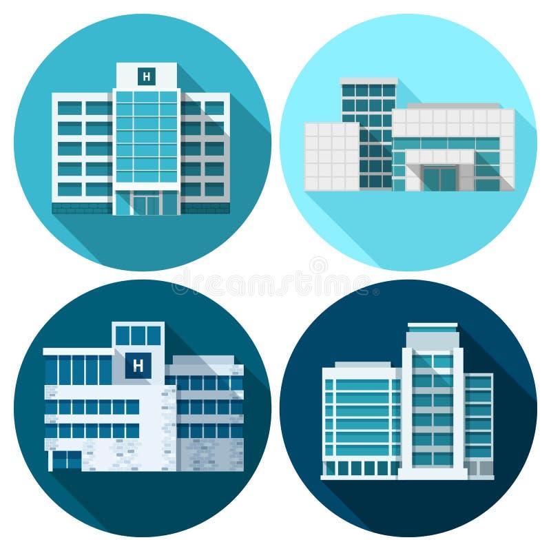 Vlakke het ziekenhuisgebouwen stock illustratie