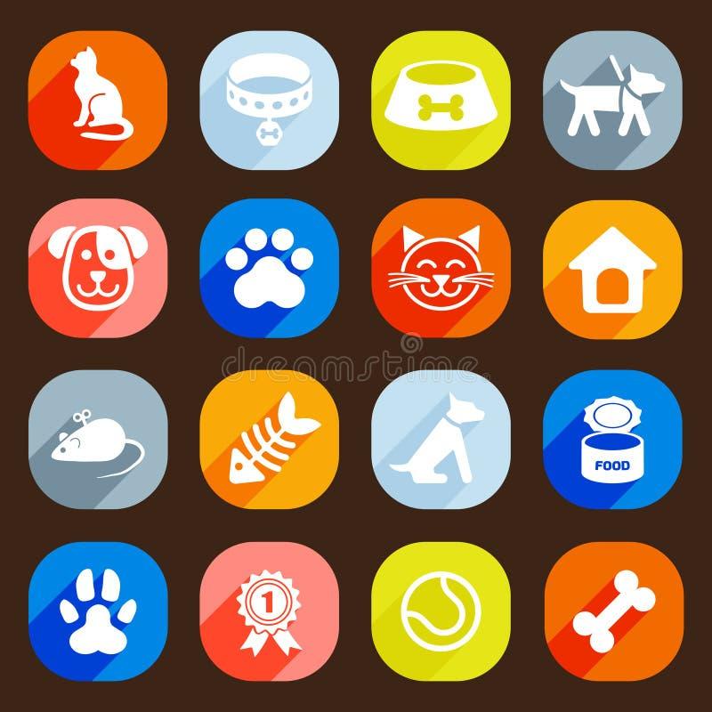 In Vlakke hond en kattenpictogrammen Het winkelen markeringen en pictogrammen vector illustratie