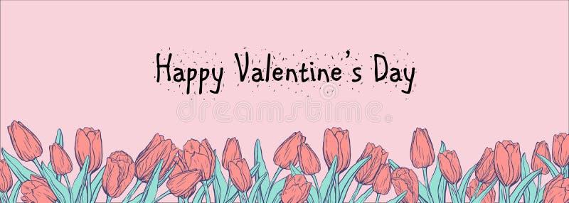 Vlakke horizontale banner met gekleurde tulpen op roze achtergrond vector illustratie