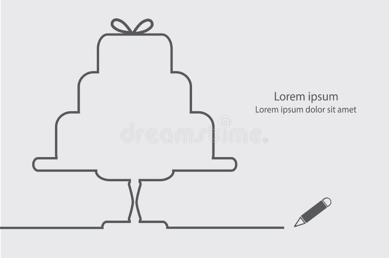 Vlakke huwelijkscake vector illustratie
