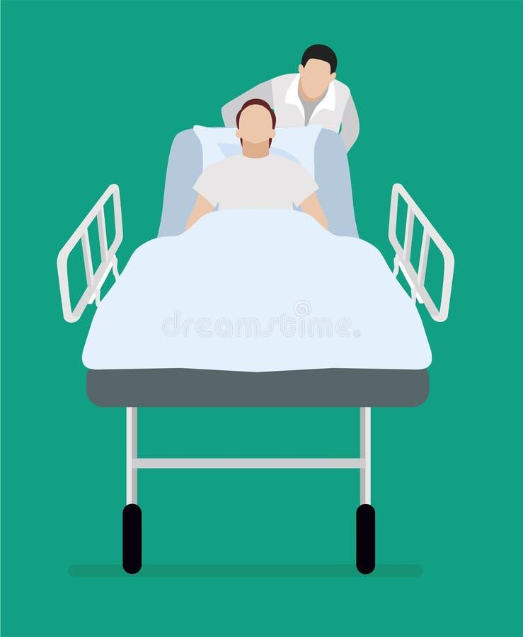 Vlakke illustratie De patiënt op een gurney Het ziekenhuis royalty-vrije illustratie