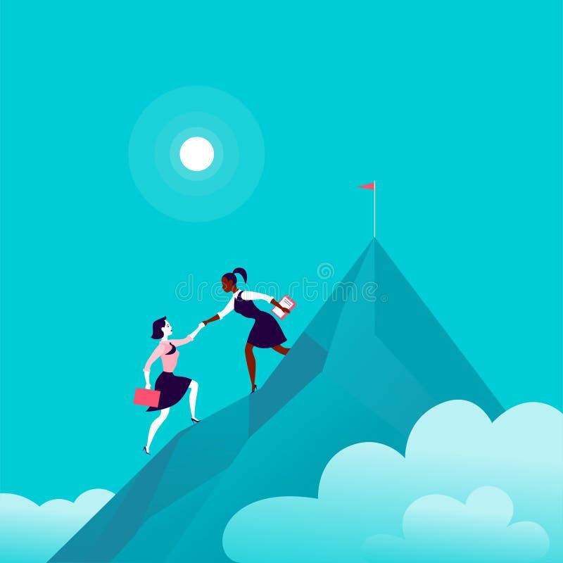 Vlakke illustratie met bedrijfsdames die samen op berg piekbovenkant beklimmen op blauwe betrokken hemelachtergrond royalty-vrije illustratie