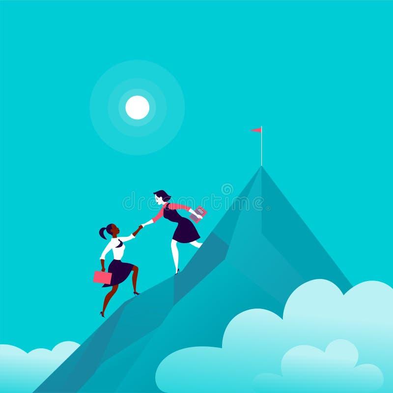 Vlakke illustratie met bedrijfsdames die samen op berg piekbovenkant beklimmen op blauwe betrokken hemelachtergrond vector illustratie