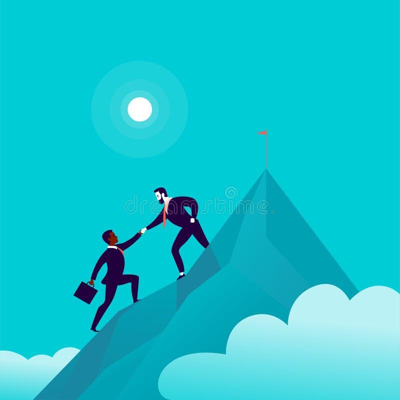 Vlakke illustratie met bedrijfsmensen die samen op berg piekbovenkant beklimmen op blauwe betrokken hemelachtergrond stock illustratie
