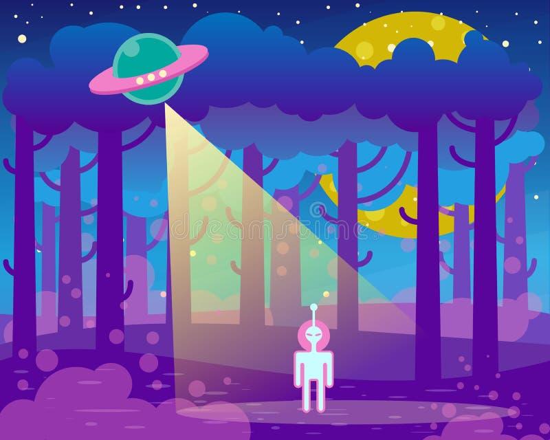 Vlakke illustratie over nachtlandschap, ufoelementen - vreemdeling en ruimteschip vector illustratie