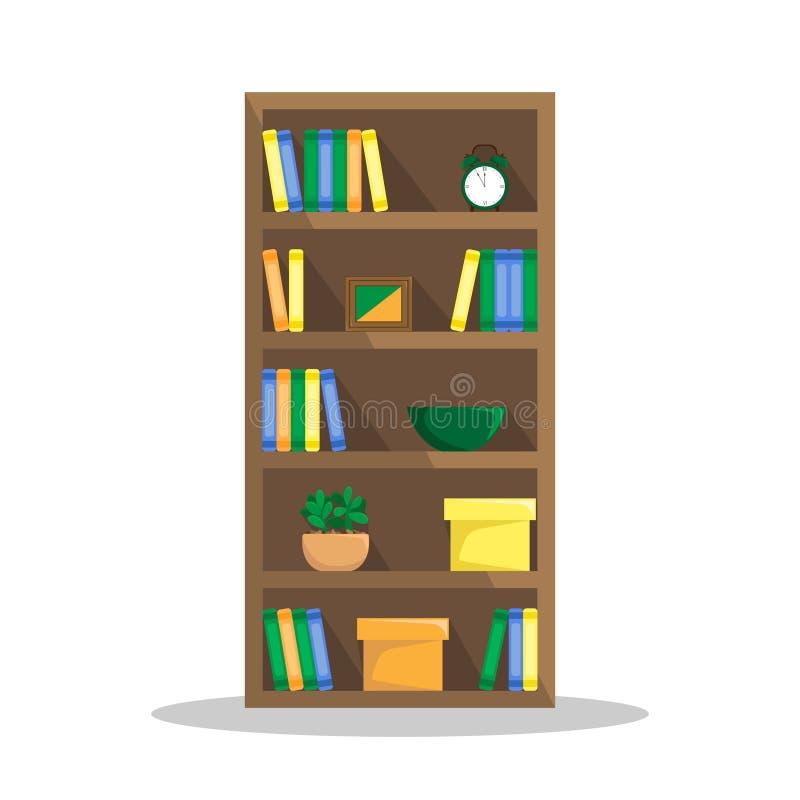 Vlakke illustratie van een comfortabele boekenkast met boeken, klok royalty-vrije illustratie