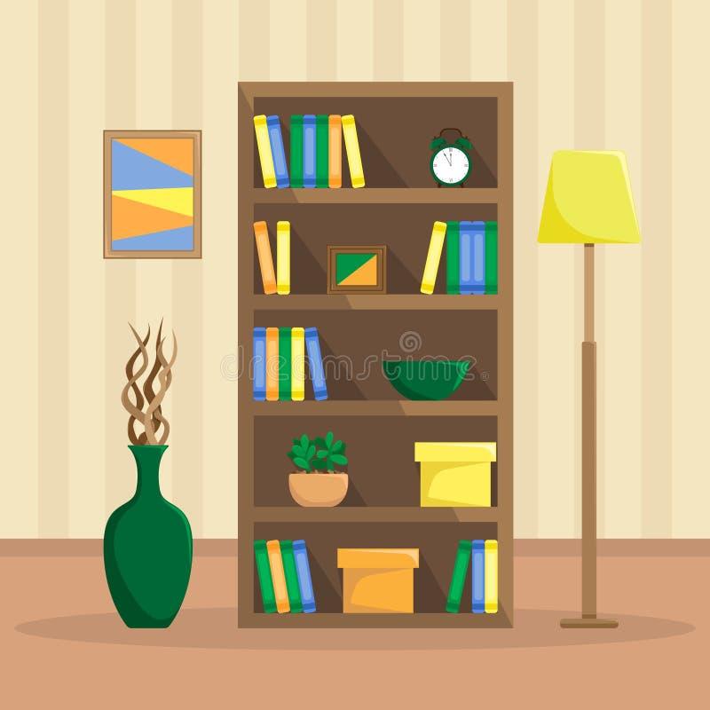 Vlakke illustratie van een comfortabele boekenkast met boeken, klok, installaties royalty-vrije illustratie