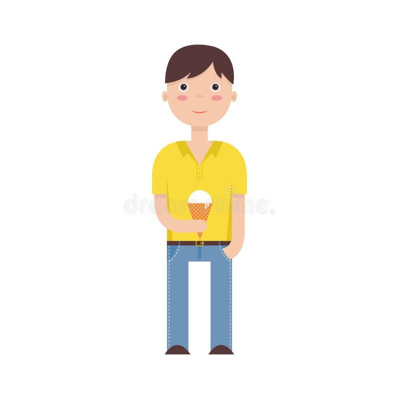 Vlakke illustratie van een jongen met een roomijs stock illustratie