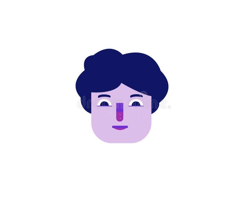 Vlakke illustratie van een purper gezicht van een mens vector illustratie