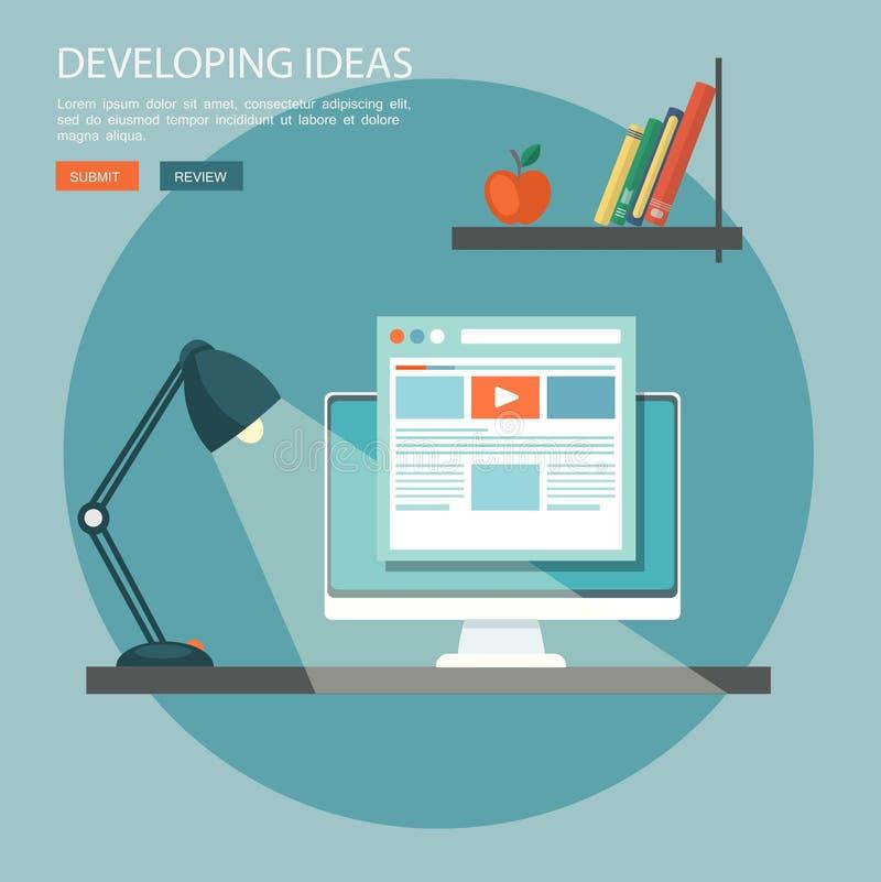 Vlakke illustratie van ontwikkelingsideeën Desktop met computer royalty-vrije illustratie