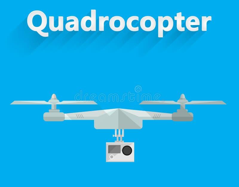 Vlakke illustratie van quadrocopter stock illustratie