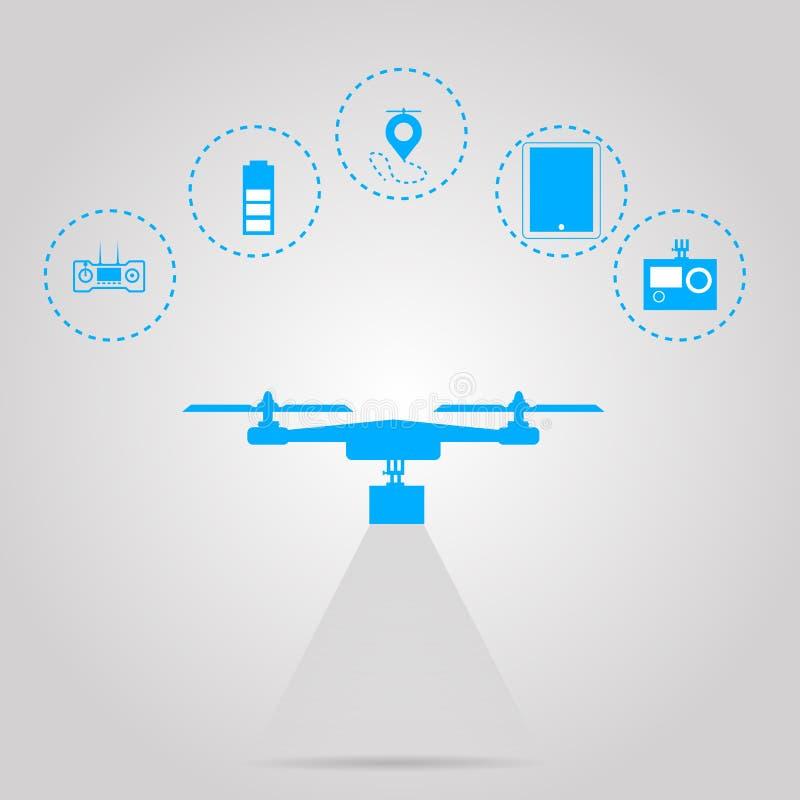 Vlakke illustratie voor controle met quadrocopter vector illustratie