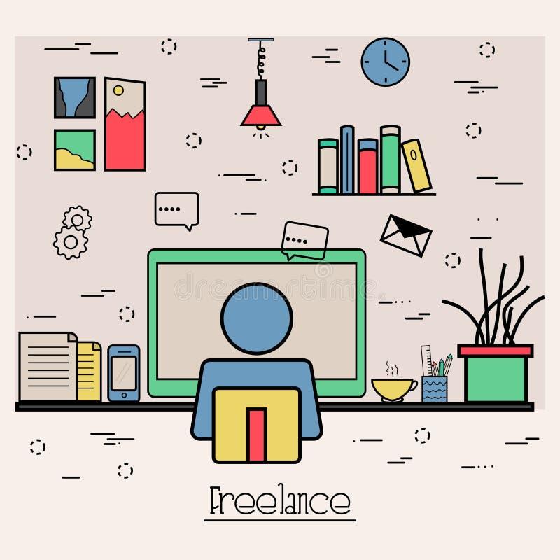 Vlakke illustratie voor Freelance Zaken stock illustratie