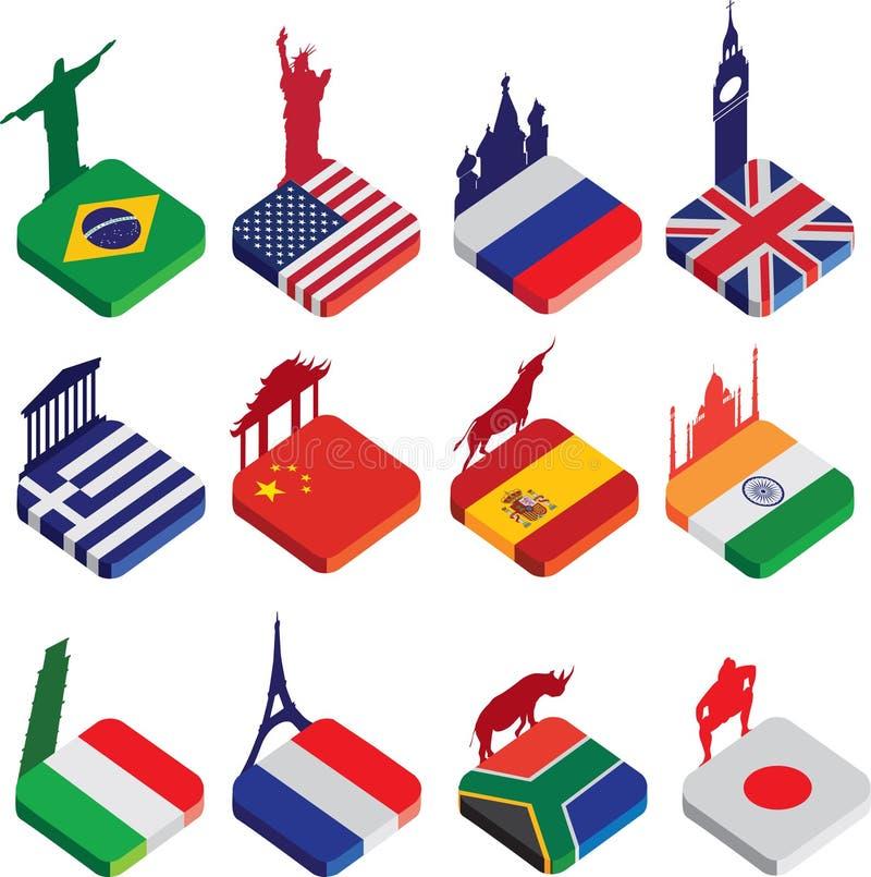 Vlakke isometrische 3d vlagpictogrammen, beroemde wereldoriëntatiepunten op wit stock illustratie