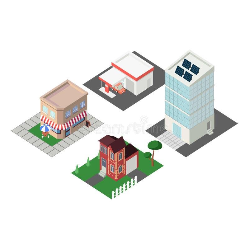 Vlakke isometrische gebouwen Slimme het malplaatje vectorillustratie van stadsinfographics 3d isometry concept royalty-vrije illustratie
